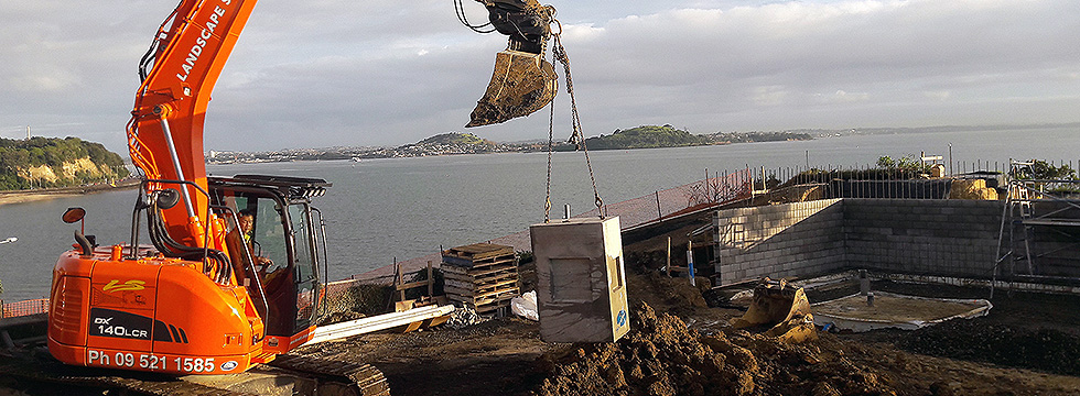 Drainlaying for new residential apartments in Misison Bay, Auckland