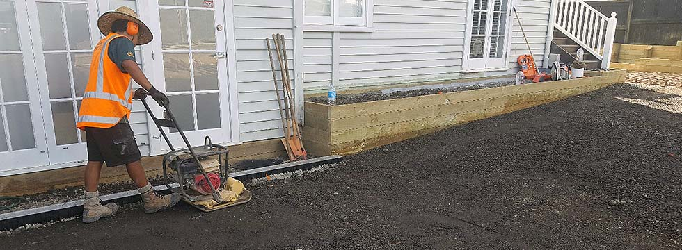 New Driveway Under Construction in Kohimarama, Auckland